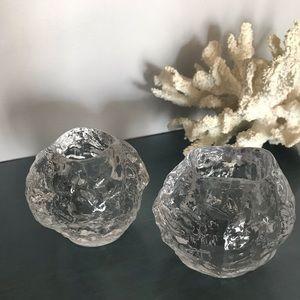 Kosta Boda Snowball Crystal Votive Pair